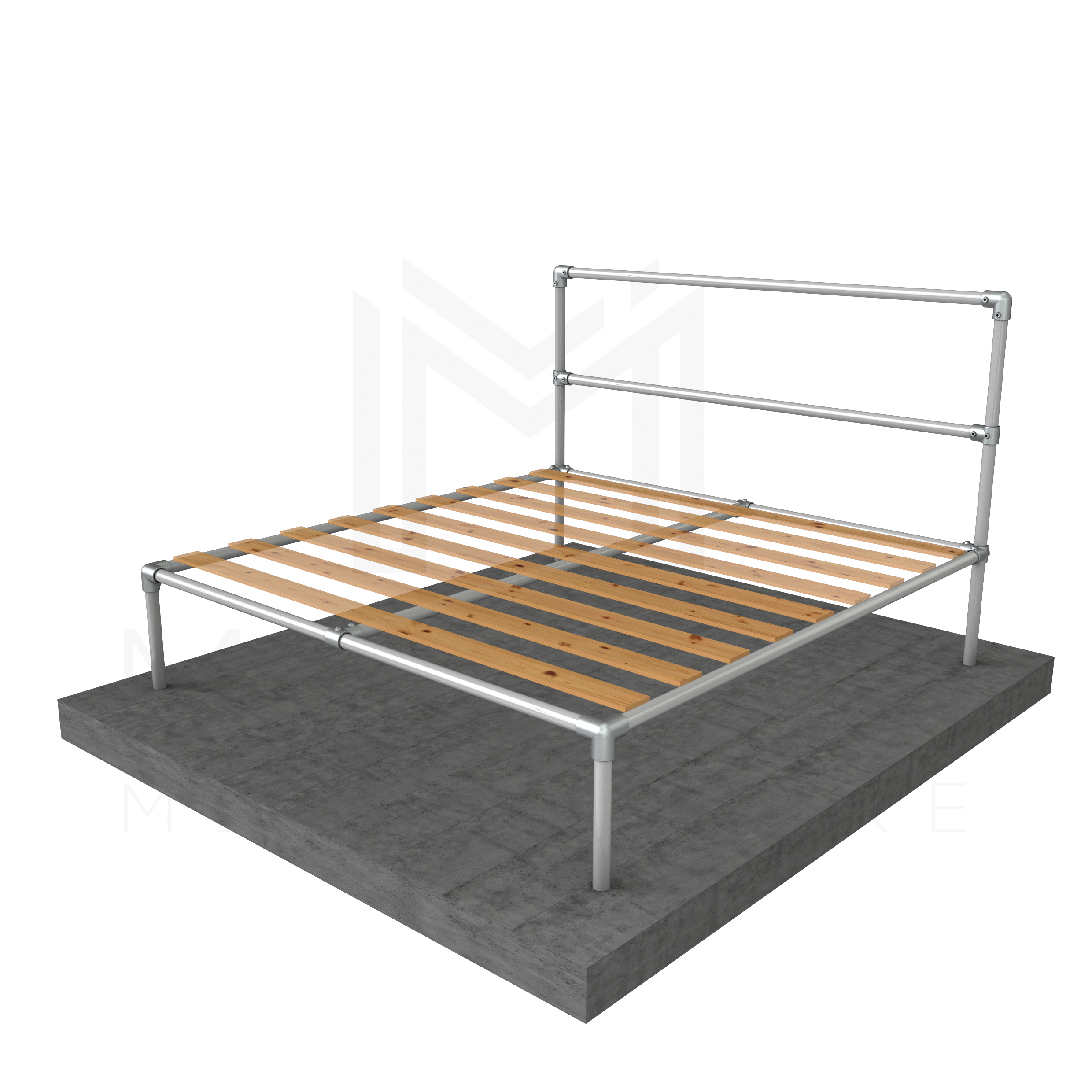 King size bed basic frame modular metal store for Basic twin bed frame
