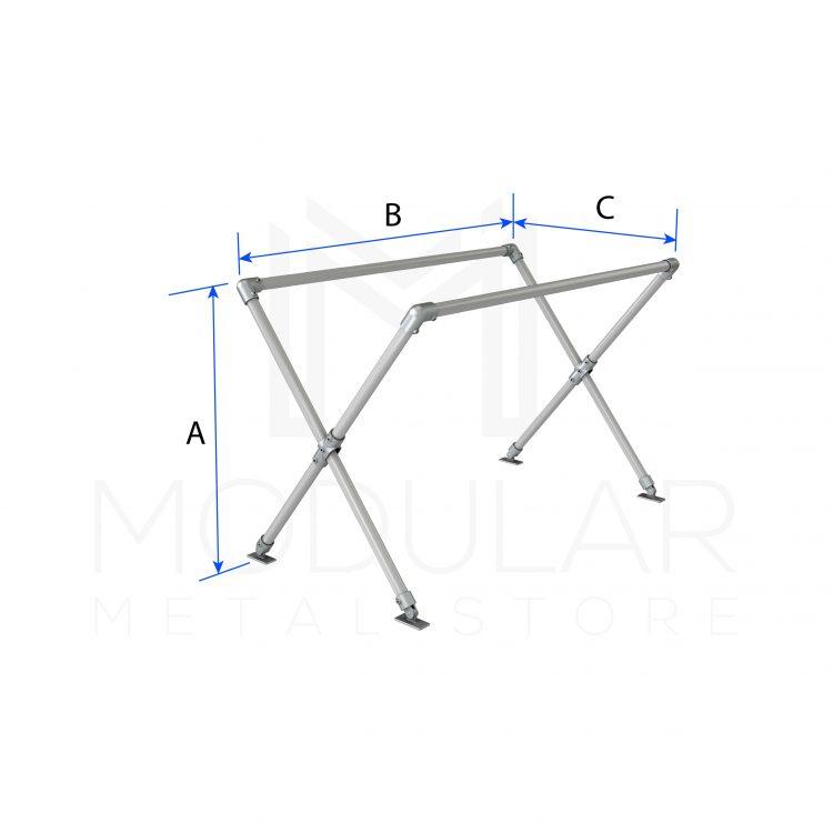 Cross Leg Table Frame Dimensions