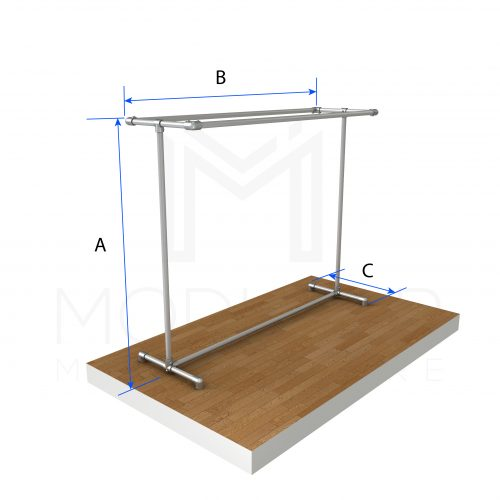 Free Standing Double Top Rail Dimensions