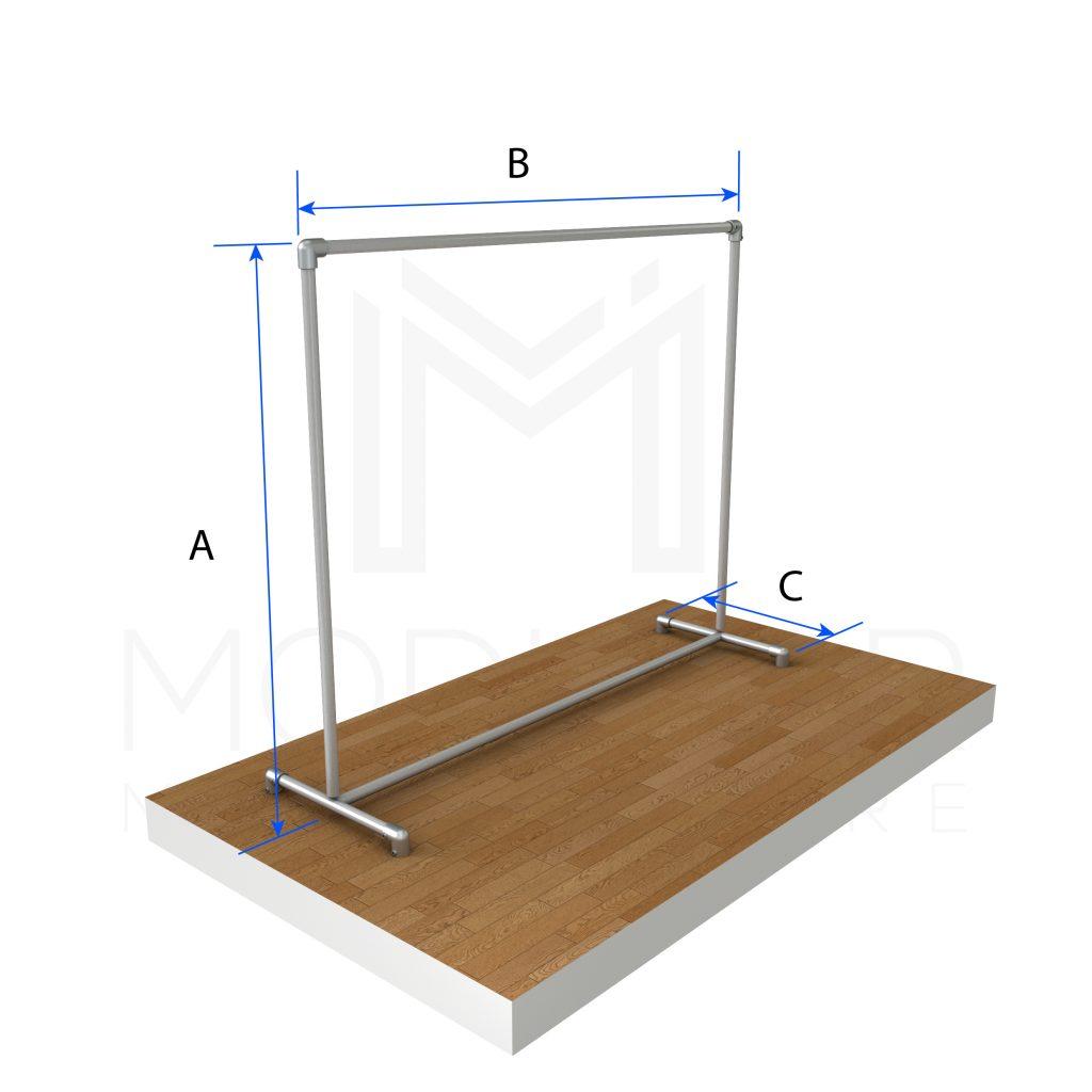 Free Standing Single Clothing Rail With Bracing Modular