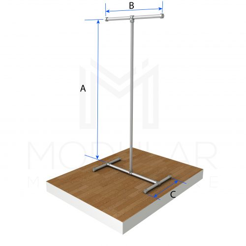 Free Standing T Clothing Rail Dimensions